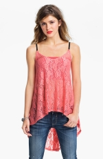 Pink lace high low top at Nordstrom