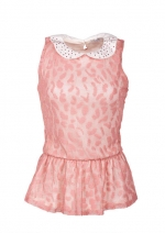 Pink leopard print top with embellished collar at Delias