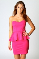 Pink peplum dress at Boohoo at Boohoo