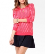 Pink polka dot sweater at Forever 21 at Forever 21