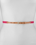 Pink skinny belt by Tory Burch at Neiman Marcus