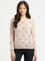 Pink skull sweater by 360 Sweater at Saks Fifth Avenue