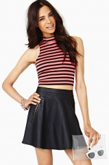Pink striped crop top at Nasty Gal