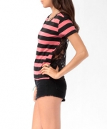 Pink striped tee with lace back at Forever 21