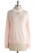 Pink sweater with white lace collar at Modcloth at Modcloth