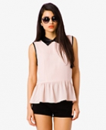 Pink top with leather collar and trim at Forever 21