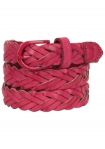 Pink woven skinny belt at Delias