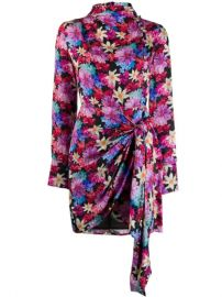 Pinko Floral Print Draped Mini Dress - Farfetch at Farfetch