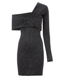 Pinstripe One Shoulder Mini Dress at Intermix