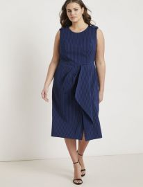 Pinstripe Origami Sheath Dress at Eloquii