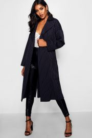 Pinstripe duster coat at Boohoo