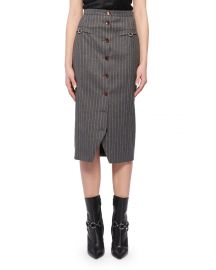 Pinstriped Button-Front Skirt at Bergdorf Goodman