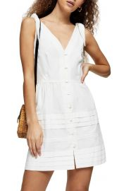 Pintuck Sleeveless Button Minidress at Nordstrom