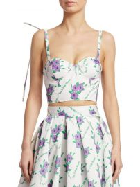 Pintucked Floral Bustier  Rosie Assoulin at Saks Fifth Avenue