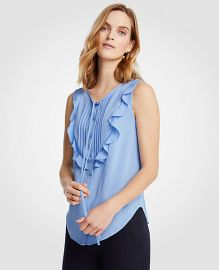Pintucked Ruffle Bib Shell at Ann Taylor