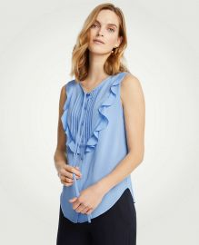 Pintucked Ruffle Bib Shell by Ann Taylor at Ann Taylor