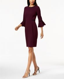 Piped Bell-Sleeve Sheath Dress at Macys