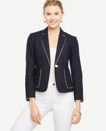 Piped Linen Blend Blazer at Ann Taylor