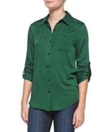 Piper Leather-Tab Collared Blouse by Alice and Olivia at Neiman Marcus