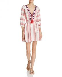 Piper Ramones Embroidered Lace-Up Dress white at Bloomingdales
