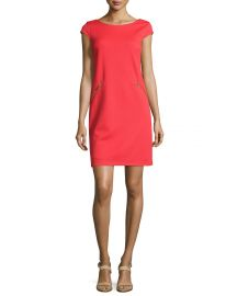 Pique Zip-Pocket Cap-Sleeve Dress Chetta B at Last Call