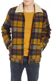 Plaid Faux Shearling Lined Wool Blend Trucker Jacket at Nordstrom