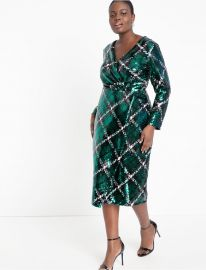 Plaid Sequin Wrap Dress by Eloquii at Eloquii