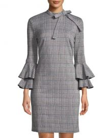 Plaid Bell-Sleeve Tie-Neck Sheath Dress by Alexia Admor at Last Call