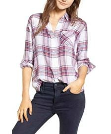 Plaid Button-Front Shirt at Amazon