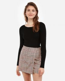 Plaid Button Front Skirt at Express