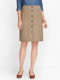 Plaid Button Front Skirt at Talbots