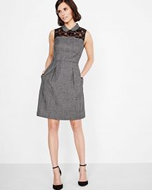 Plaid Fit And Flare Dress With Lace Yoke at RW&Co