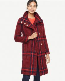 Plaid Funnel Neck Coat at Ann Taylor