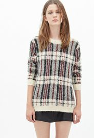Plaid Fuzzy Sweater at Forever 21