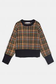 Plaid Knit Sweatshirt by Zara at Zara