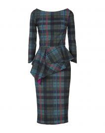 Plaid Off-the-Shoulder Peplum Dress by Chiara Boni La Petite Robe at Yoox