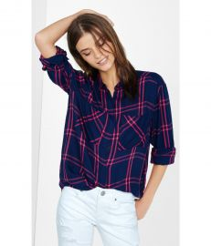 Plaid Oversized Shirt in Blue and Pink at Express