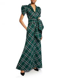 Plaid Puff-Sleeve Shirtdress at Bergdorf Goodman