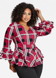 Plaid Ruffle Sleeve Blouse by Ashley Stewart at Ashley Stewart