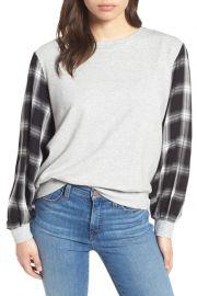 Plaid Sleeve Sweatshirt at Nordstrom Rack
