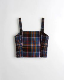Plaid Square Neck Crop Top at Hollister