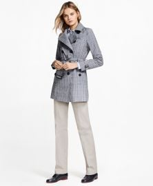 Plaid Stretch Cotton Trench Jacket at Brooks Brothers