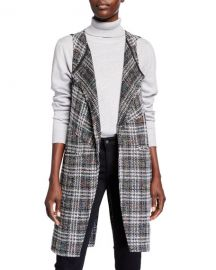 Plaid Tweed Wrap Vest at Last Call