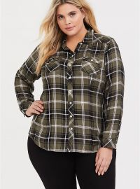 Plaid Twill Button Front Slim Fit Shirt by Torrid at Torrid