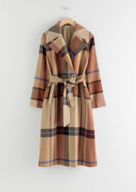 Plaid Wool Blend Belted Long Coat at & Other Stories