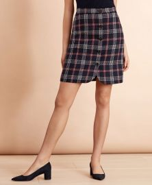 Plaid Wool-Blend Button-Front Skirt at Brooks Brothers
