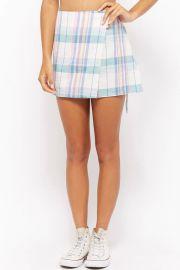 Plaid Wrap Mini Skirt at Forever 21