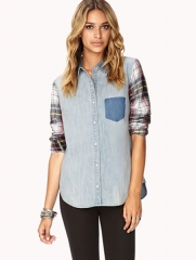 Plaid and denim shirt at Forever 21