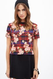 Plaid and rose top at Forever 21