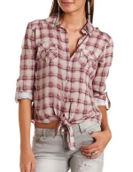 Plaid button down tie front top at Charlotte russe
